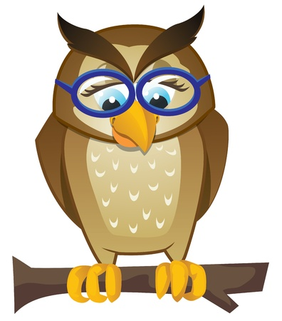 wise owl: Owl on branch with glasses Illustration