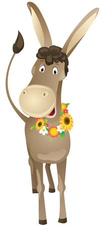 Fun cartoon donkey with wreath of flowers Vector