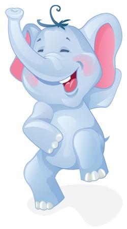 elefante cartoon: Elefante divertido de la historieta Vectores