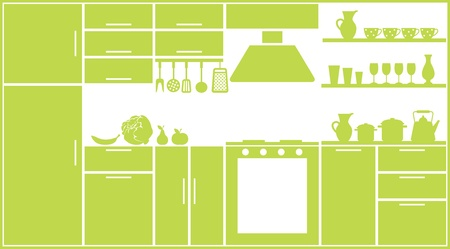 domestic kitchen: Kitchen silhouette Illustration