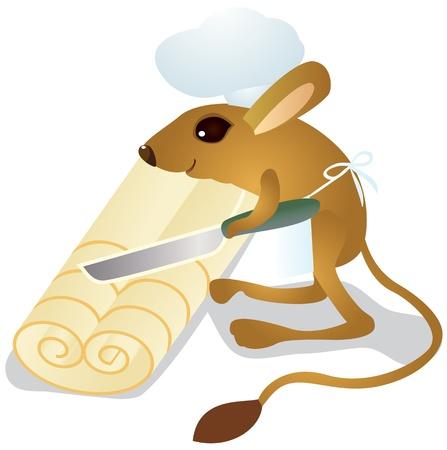 Jerboa chef cuts dough on slices