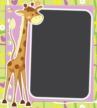 jirafa caricatura: Diversi�n marco con la jirafa