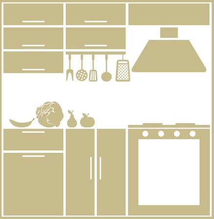 Kitchen silhouette Vektoros illusztráció