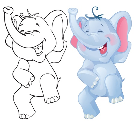 Funny cartoon elephant. Color and outline Vector