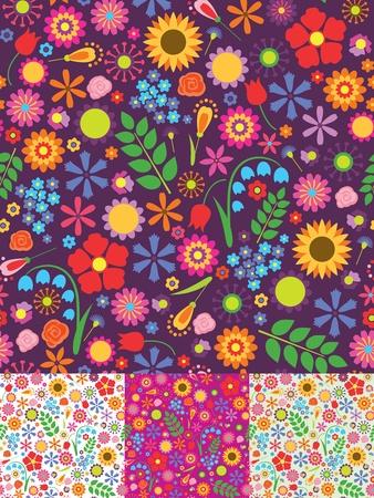 Quatre fleurs seamless patterns