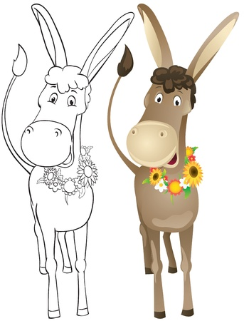 Fun donkey with wreath of flowers  Outline and color Vector