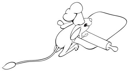 Ð¡ook jerboa unrolls dough  Outline illustration