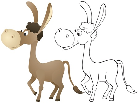 Fun cartoon donkey  Outline and color Stock Vector - 13519319