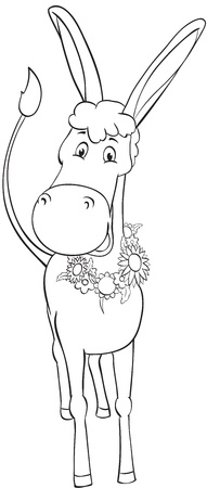 jackass: Fun outline donkey with wreath of flowers Illustration
