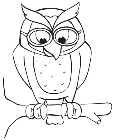Owl on branch with glasses  Outline illustration Vector