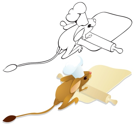 Cook jerboa unrolls dough. Color and outline illustration Vector