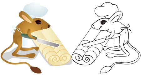 Jerboa chef cuts dough on slices. Outline illustration. Vector