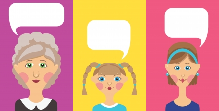 Grandmother, girl and women with bubble Vector