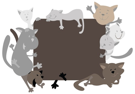 Silhouettes of cats around the frame Vector