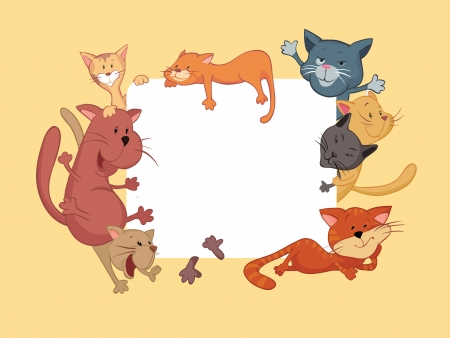 Cats around the frame Vector