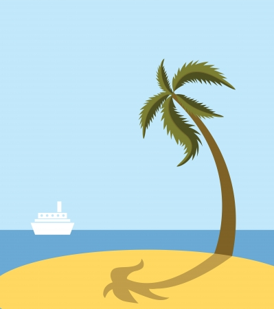 Sea beach with palm tree Stock Vector - 13840491