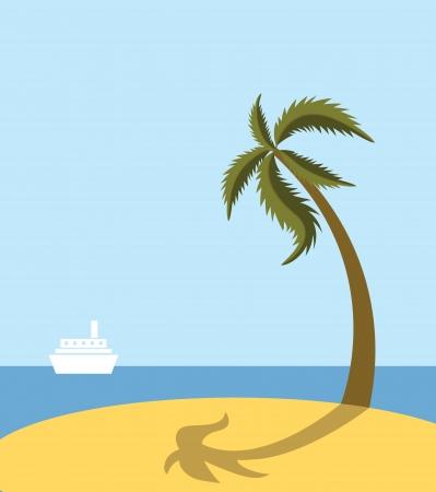 Sea beach with palm tree Stock Vector - 13840491
