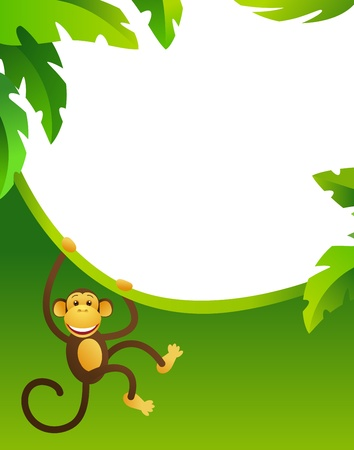 cute cartoon monkey: Frame with monkey Illustration