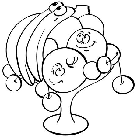 Outline cartoon fruits in vase Stock Vector - 14274142