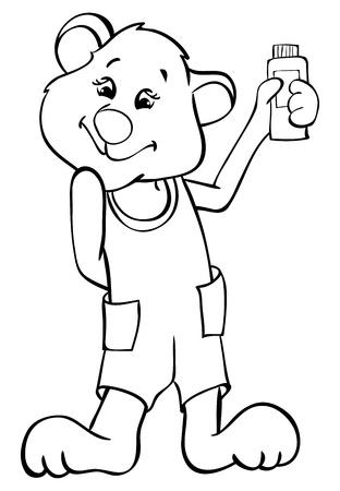 Outline glamorous bear Stock Vector - 14274140
