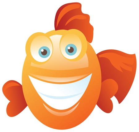 cartoon fish: Funny happy fish    Contains transparent objects used in shadows