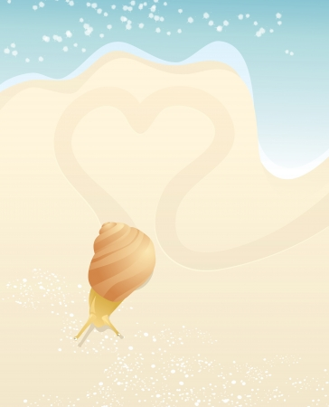 speckles: Snail and heart on the beach. EPS10. Contains transparent objects used for speckles drawing Illustration