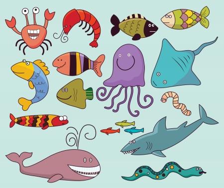 Vector illustration, marine animals, cartoon concept