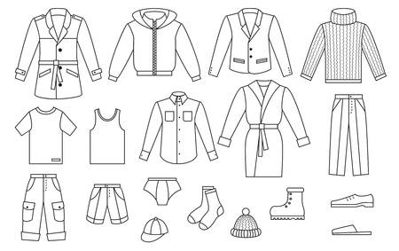 mens clothing: Outline mens clothing collection Illustration