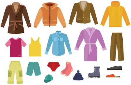 ropa de invierno: Color de colección de ropa para hombre Vectores