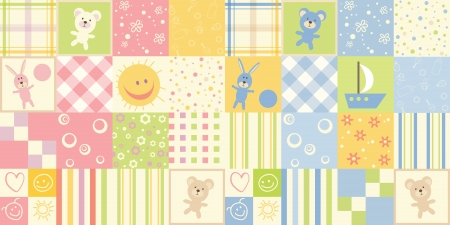 Baby seamless. Set of child patterns for boys and girls Vector