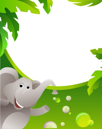 Frame with elephant. Vector