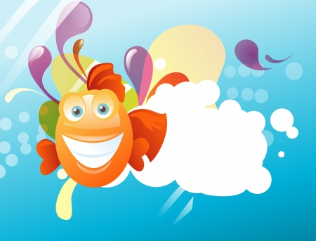 Funny abstract background with happy fish Vector