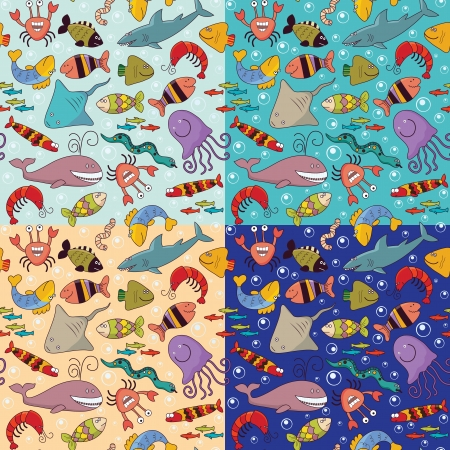 Set of seamless background - underwater wildlife, marine animals, cartoon concept Vector