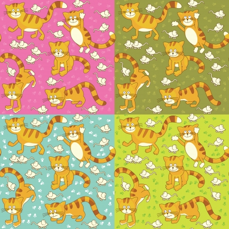 Funny cat and mouse seamless texture Vector