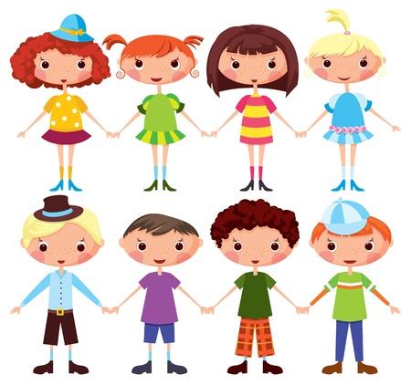 Las niñas y los niños de dibujos animados de dibujos animados. EPS10. Contiene los objetos transparentes se utilizan para las sombras de dibujo Ilustración de vector