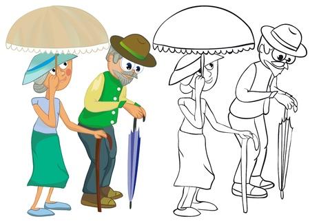 old couple walking: Senior Citizens. Color and outline illustration Illustration
