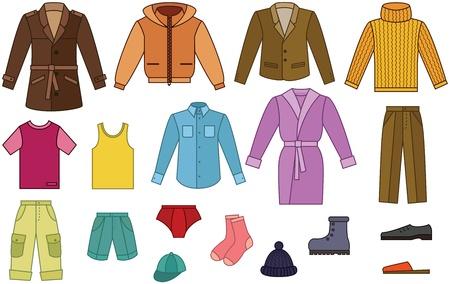 Mens collezione di abbigliamento - colore con contorno