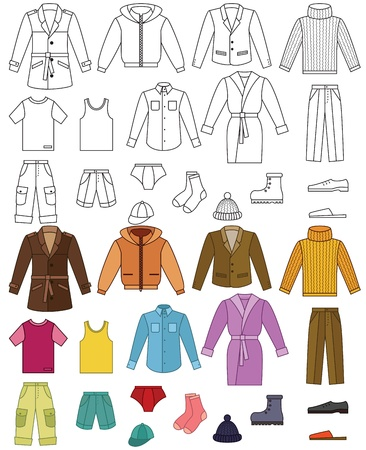 Mens clothing collection - color and outline illustrations Vector