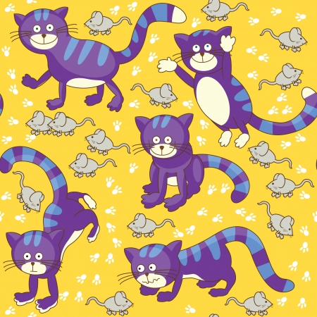 Funny cat and mouse seamless texture Stock Vector - 14763012