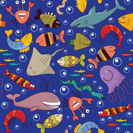 Seamless background - underwater wildlife, marine animals, cartoon concept Vector