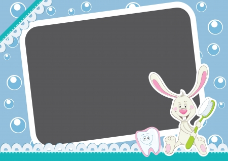 Art frame. Bunny with toothbrush and happy tooth. Children Frame for baby photo album. Vector