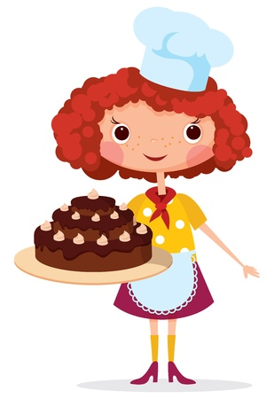 Girl cook with cake  Contains transparent objects used for shadows drawing