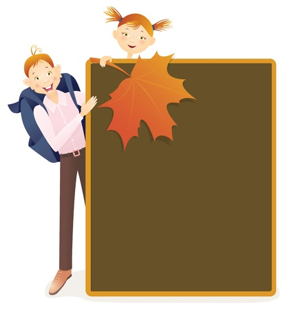 Boy, girl and school board  Contains transparent objects used for shadows drawing Vector