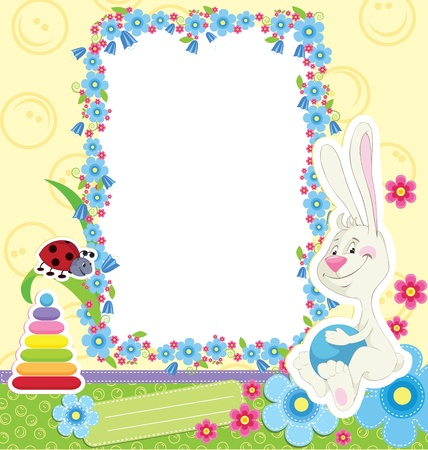 Children frame with rabbit for baby photo album Vector