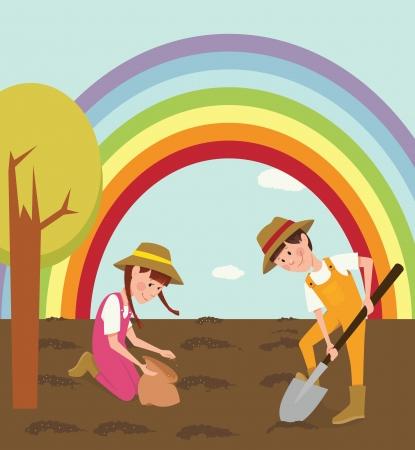 baum pflanzen: Kinder pflanzte Samen Illustration