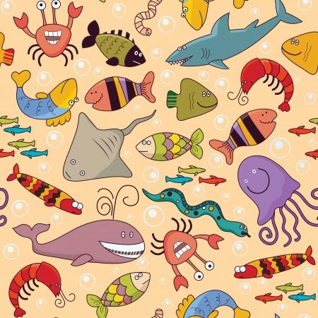Seamless background - underwater wildlife, marine animals, cartoon concept Ilustração
