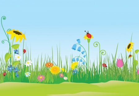 Flower meadow with ladybugs Vector