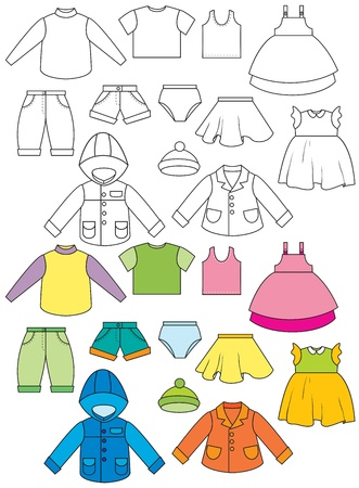 Set of clothing  Color and contour drawing Vector