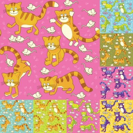 Funny cat and mouse seamless texture Stock Vector - 15490784