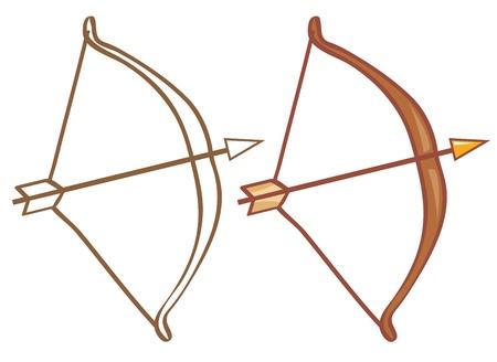 arco y flecha: Arco y flecha. Color y contorno ilustración Vectores
